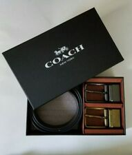 COACH Men Boxed Wide Mix Harness Leather Belt F55434 Black/Dark Brown