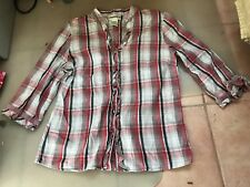 LADIES CUTE BLACK & RED CHECKED COTTON 3/4 SLEEVE BUTTON TOP BY MILLERS SIZE 10