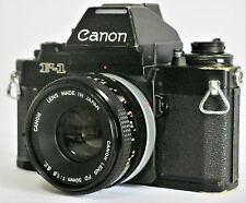 Canon New F-1 AE Finder SLR Film Camera w/ FD 50mm f/1.8 Lens Excellent