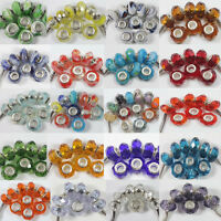 10PCS Glass Spacer Murano Big Hole Lampwork Beads Fit European Bracelet 14X10mm
