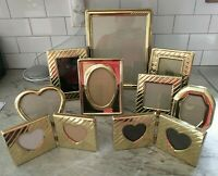 Lot of 9 Vintage gold brass metal tone photo picture frames ornate decor retro