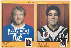 WALLY LEWIS MAL MENINGA ROOKIE CARD SCANLENS 1982 BRISBANE RUGBY LEAGUE EX/NRMNT