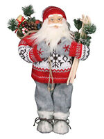 Gisela Graham Traditional Nordic Standing Santa Christmas Decoration Large 45cm