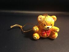 """Lucy & Me Enesco Lucy Rigg Teddy Bear 1-1/2"""" small Ornament Red Bow R-1"""