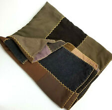 Vtg Handmade Quilt Lap Dble Sided Log Cabin Fence Row Unique Repurposed Menswear