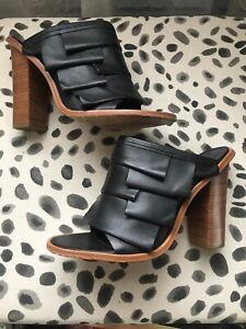 Tibi Black Peep Toe Layered Leather Mules Heels Shoes 39.5/9