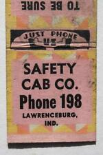 1930-40s Era Lawrenceburg,Indiana Safety Taxi Cab Company matchbook-Vintage!