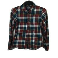 The North Face Women's Button Down Plaid Flannel Long Sleeved Shirt Size Small