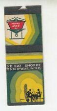 Vintage Matchbook Cover - Ye Eat Shoppe New York City - Romantic Diner Couple
