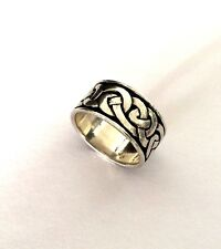 CELTIC IRISH KNOT 925 STERLING SILVER RING 10.5 MM WIDE BAND Sz 8 3/4
