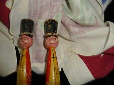 "#730 vtg Lot 2 wooden toys HANDPANTED AS IS 7"" T Men w Top Hats"