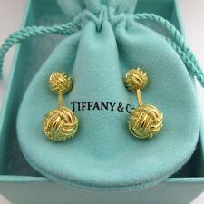 TIFFANY & Co. Schlumberger 18K Yellow Gold Woven Knot Cufflinks Cuff links