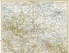 Karte PROVINZ SACHSEN / ANHALT 1889 Original-Graphik