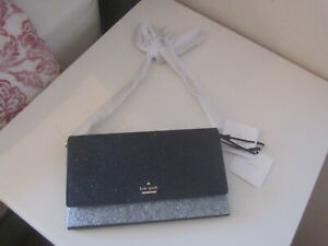 BNWT KATE SPADE BLACK NAVY GLITTERY CHAIN MESSENGER BAG WITH CARD HOLDER £175