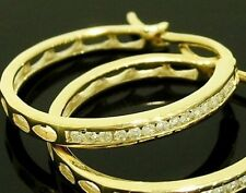 E043 - Genuine 9ct SOLID Yellow Gold NATURAL Diamond HOOP Earrings 0.25ct 1/4ct