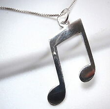 Musical Eighth Note Necklace 925 Sterling Silver Musician Sheet Music Compose