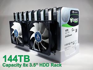 "8 Bay Hard Drive Rack Holder Cage Case Caddy w/ Fan Mounts 3.5"" HDD"