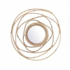 Nordic Bamboo Rattan Mirrors For Home Handmade Round Wicker Wall Mounted Mirror