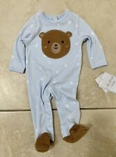 Sterling Baby Boys Stars and Teddy Bear Sleeper Pajamas Size 3 Months Light Blue