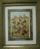 Persian Miniature Hand Painting Art & Khatam Inlaid Micro Mosaic Marquetry Frame