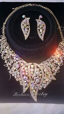 Gold colour AB Diamante crystal Necklace & earrings set wedding prom new set A