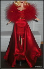 DRESS BARBIE HOLLYWOOD CAST PARTY DOLL STUNNING RED GOLD GOWN FEATHER STOLE