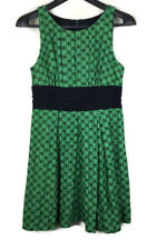 Frock by Tracy Reese Linen Silk Green Black Lined Dress Size 12