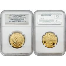 China 2012 Panda Singapore Coin Fair 1/2 oz Gold NGC PF69 with COA