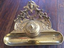 Vintage/Antique Ornate Brass Desk Inkwell Dip Pen Ink Well