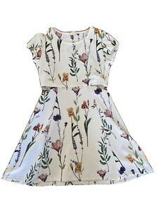 Zara Kids Girls White Multicoloured Flower Dress, Sz 11/12