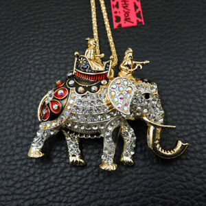 New Betsey Johnson White Crystal Elephant Bling Animal Necklace Sweater Chain