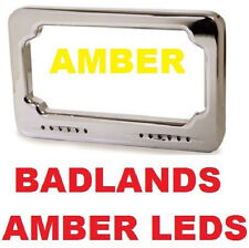LED Turn Signal License Plate 4 x 7 Sequential Amber by Badlands Harley Softail