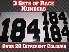 3 Conjuntos Motocross MX números de carrera Personalizado Pegatina de vinilo Calcomanías ensayos bici de la suciedad D1