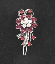 Sunflower Hair pin Clip Barrette Silver Tone RED Rhinestones 2 inches high
