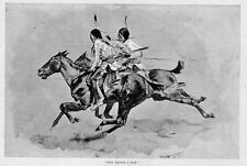 FREDERIC REMINGTON ARMED CHEYENNE SCOUTS ON HORSEBACK SADDLE REINS FEATHERS