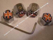 UK FLAG FOUR RED WHITE & BLUE Locking Valve Tyre Tire Dust Caps Free UK Postage