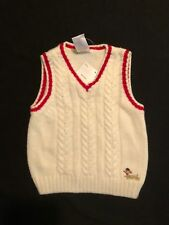 NWT Gymboree Boys Ivory w/ Red Puppy Cableknit Sweater Vest Size 3-6 M
