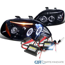 Glossy Black Fit 96-98 Civic Smoke Halo LED Projector Headlight+H1 6000K HID Kit