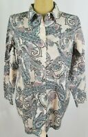 Chicos No Iron Tunic Top Size 1 Medium Pink Blue Paisley Button Down Long Sleeve