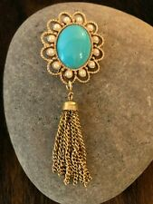 Vintage Signed SARAH Coventry Faux Turquoise & Pearl Gold Tone Tassel Brooch