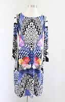 Ivanka Trump Graphic Floral Snakeskin Animal Print Shift Dress Size S Blue Black