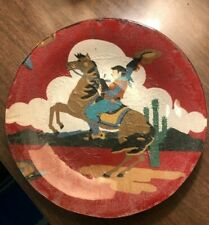 """Vtg 50s cowboy-on-horse-in-desert cotton cloth on clear glass plate back,7.75""""W"""