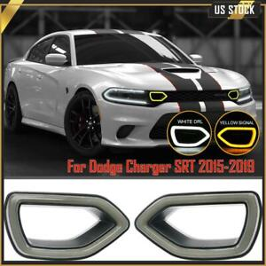 Fits 2015-2019 Dodge Charger SRT Scat Pack 2pcs Front Grille Smoke LED Lights