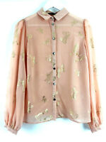 Womens Ladies Shirt Top Blouse Apricot Colour Gold Shiny Butterflys Size 12 Uk