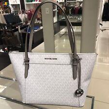 Michael Kors Medium Large Shoulder Tote Bag Handbag Purse Bright White Silver MK