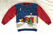 Vintage Christmas Sweater Raquel's Collection Handmade Peru Pullover 3D Large