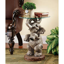 Exotic African Elephant Glass Topped Sculptural Accent Table Pachyderm