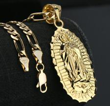 Cadena Para Hombre Virgen Colgante De Oro 14k Chapado Collar Cubano Joyería Fina