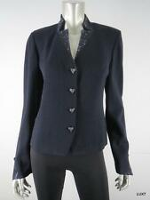 $1295 NWT ST JOHN EVENING 8 Black Knit Jacket Sparkly Crystal Heart Buttons NEW