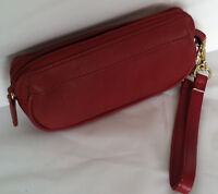 Brand New Rolfs Ladies Red Zip Around wallet Coin Leather Purse With Wristlet
